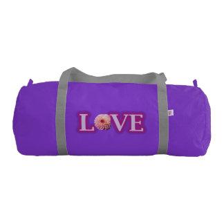 銀製の革紐と紫色カスタムなDuffleの体育館のバッグ ジムバッグ
