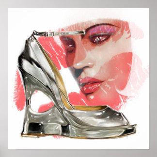銀製の靴の女性 ポスター