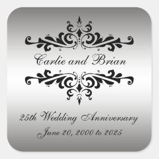 銀製の黒の第25結婚記念日のステッカー スクエアシール