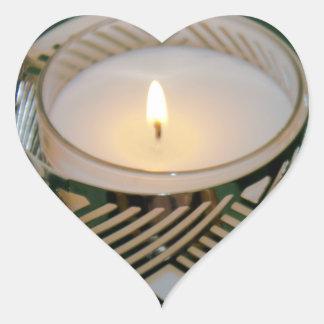 銀製のCandleholderのLitの休日の蝋燭 ハート形シールステッカー