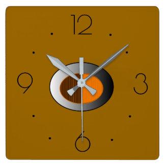 銀製のcentre>の台所時計を持つ粋なタン スクエア壁時計