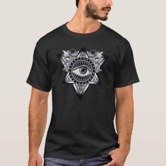 銀製のIlluminatiの神秘的な目の護符の記号 Tシャツ