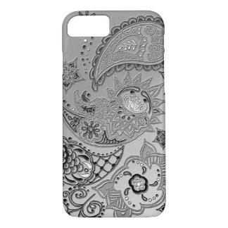 銀製のMehndiパターンデザインのiPhone 7つの場合カバー iPhone 8/7ケース