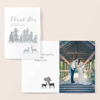 銀製マツシカの冬の結婚式の写真は感謝していしています 箔カード