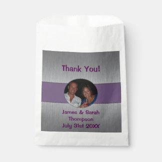 銀製及び紫色の写真の好意のバッグを感謝していして下さい フェイバーバッグ