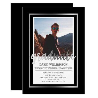 銀製及び黒いタイポグラフィ|の写真の卒業パーティー カード