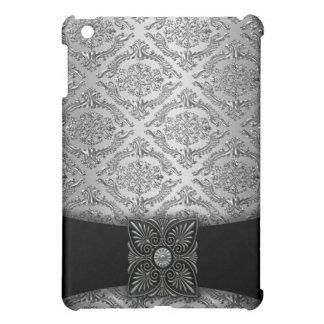 銀製及び黒いダマスク織 iPad MINI カバー
