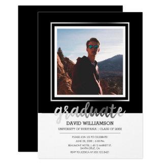 銀製及び黒い原稿|の写真フレームの卒業 カード