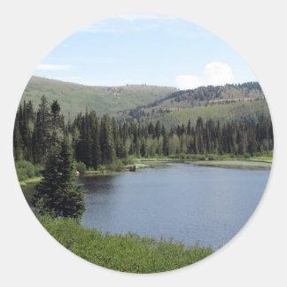 銀製湖上の青空 ラウンドシール