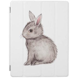 銀製灰色のバニーの水彩画の絵画 iPadスマートカバー