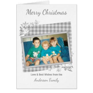 銀製灰色のメリークリスマスの写真 グリーティングカード