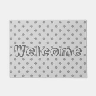 銀製灰色の模造のなグリッターの水玉模様の歓迎 ドアマット