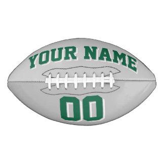 銀製灰色の深緑色および白くカスタムなフットボール アメリカンフットボール