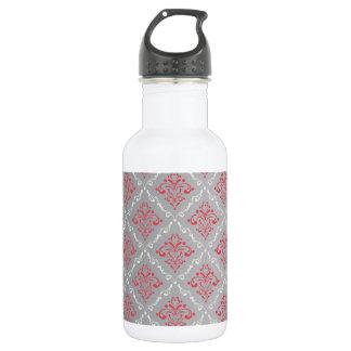 銀製灰色の珊瑚の赤く、クリーム色のダマスク織 ウォーターボトル