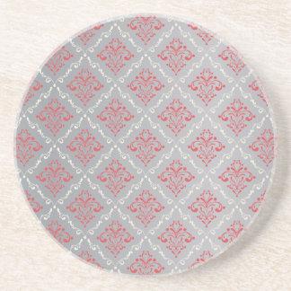 銀製灰色の珊瑚の赤く、クリーム色のダマスク織 コースター