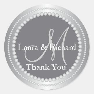 銀製灰色の結婚式の引き出物はモノグラム感謝していしています ラウンドシール