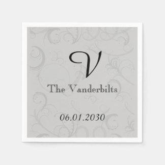 銀製灰色の結婚式の曲げられたアールデコの花型女性歌手 スタンダードカクテルナプキン