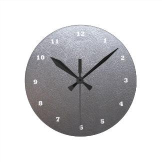 銀製灰色の輝き: レザールックの終わり ラウンド壁時計