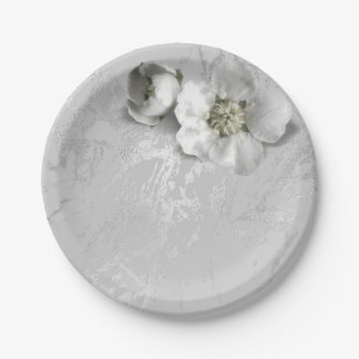 銀製灰色の金属白いジャスミンのAppleの花 ペーパープレート