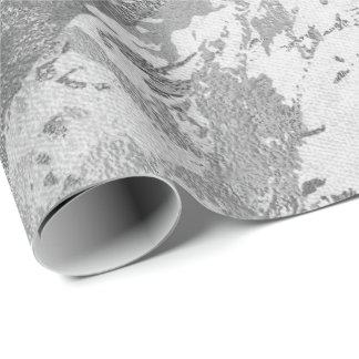 銀製灰色Monochrom大理石の光沢がある金属VIP ラッピングペーパー