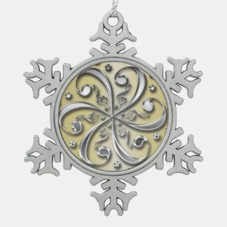 銀製音楽クレフ、音符記号の雪片のクリスマスのオーナメント スノーフレークピューターオーナメント