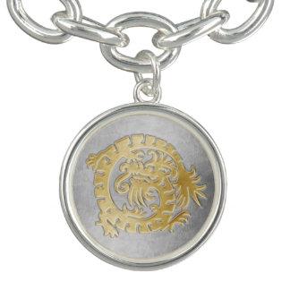 銀-チャームブレスレットの金ゴールドのドラゴン チャームブレス