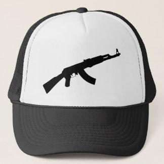 銃のカラシニコフ自動小銃黒いアイコン キャップ