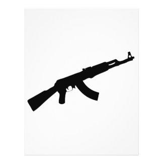銃のカラシニコフ自動小銃黒いアイコン チラシ