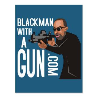 銃のポッドキャストの黒人男性 ポストカード
