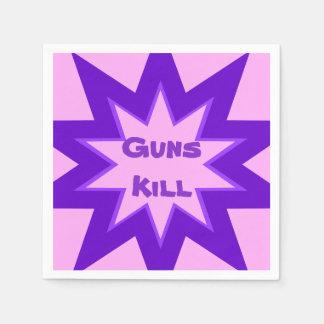 銃の殺害のピンクおよび紫色の紙ナプキン スタンダードカクテルナプキン