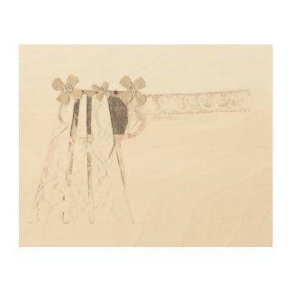 銃の花嫁背景の木のキャンバス無し ウッドウォールアート