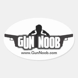 銃のNoobのステッカー 楕円形シール
