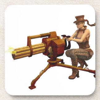銃を持つSteampunkの女の子 コースター
