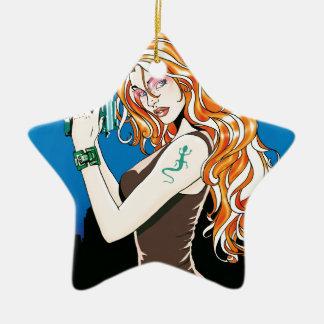 銃を握るオレンジ毛を搭載するエキゾチックな女性モデル セラミックオーナメント