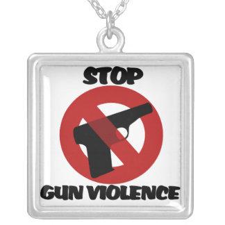 銃犯罪をストップ シルバープレートネックレス