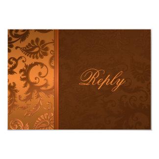 銅およびブラウンのダマスク織の応答カード カード