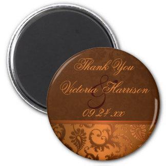 銅およびブラウンのダマスク織の結婚式の引き出物の磁石 マグネット