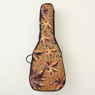 銅および金ゴールドの秋は葉のフラクタルの芸術を着色しました ギターケース