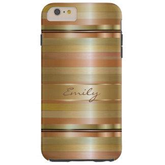 銅および金属金ゴールドは縞で飾ります TOUGH iPhone 6 PLUS ケース