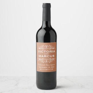 銅のオレンジ結婚式のワイン・ボトルの好意 ワインラベル