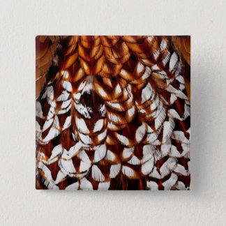 銅のキジの羽のデザイン 缶バッジ