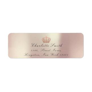 銅のバラのグリッターRSVPの皇太子妃のブライダル ラベル