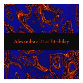 銅のフラクタルの抽象芸術の黒の青のイベント カード