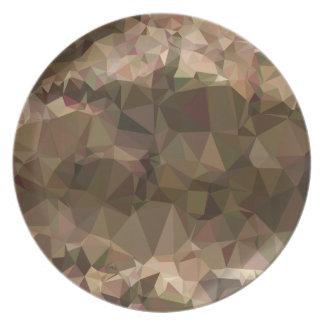 銅のブラウンの抽象的で低い多角形の背景 プレート