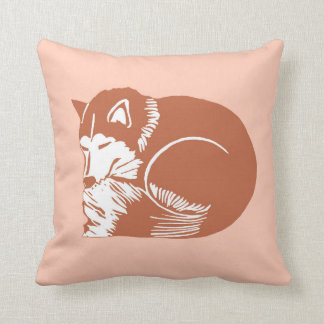 銅のブラウン睡眠のハスキーなモモの枕 クッション