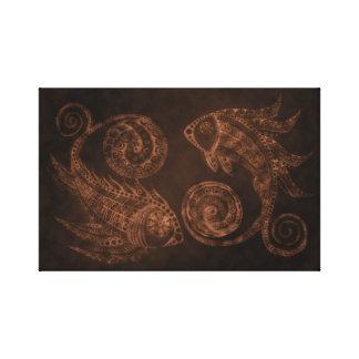 銅のペイズリーの魚 キャンバスプリント