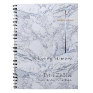 銅の十字の大理石2の葬儀の記念の来客名簿 ノートブック