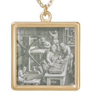 銅の版木、銅版、版画の発明は、めっきします20をからの「 ゴールドプレートネックレス
