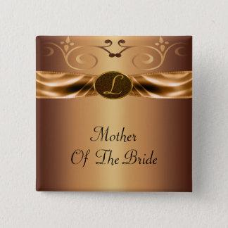 銅の金属スクロール及びリボンのモノグラムの結婚式 缶バッジ