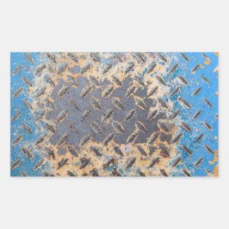 銅の青くグランジで古い金属の腐食 長方形シール・ステッカー